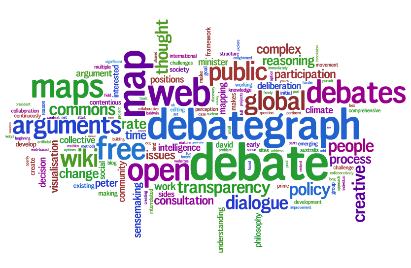 Debategraph visualised in Wordle